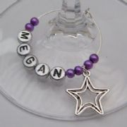 Double Star Outline Personalised Wine Glass Charm